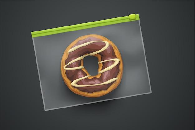 Donut in realistische plastic verpakking met ritssluiting op donkergrijs