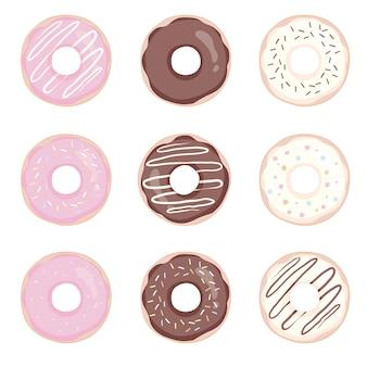 Donut ingesteld op een witte achtergrond. donuts bezet met glazuur.