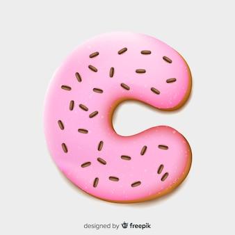 Donut lettertype in realistische stijl