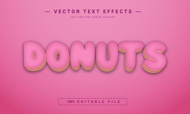 Donut met aardbeiensmaak 3d-teksteffect