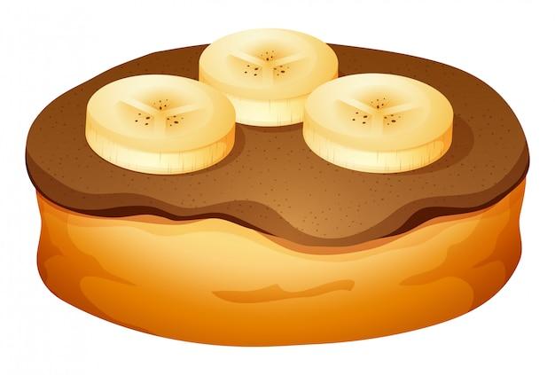 Donut met chocolade en banaan topping