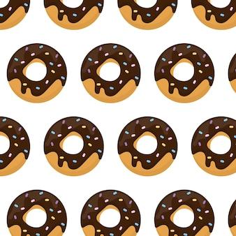 Donut naadloos patroon patroon met een donut in glazuur