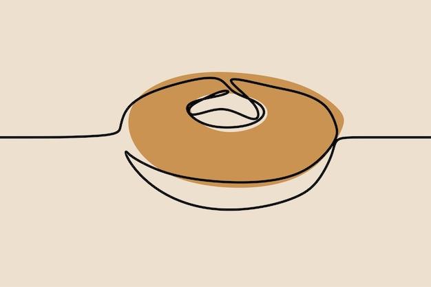 Donut oneline doorlopende lijntekeningen