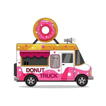 Donut vrachtwagen geïsoleerd op een witte achtergrond. vector illustratie.