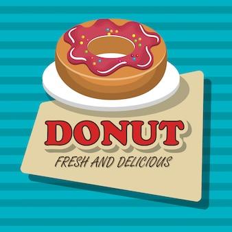 Donut zoet dessert geïsoleerd