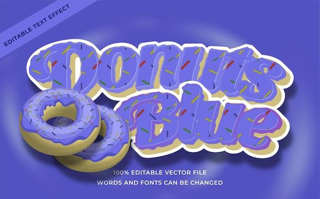 Donuts blauw teksteffect bewerkbaar voor illustrator
