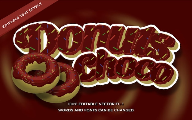 Donuts choco-teksteffect bewerkbaar voor illustrator