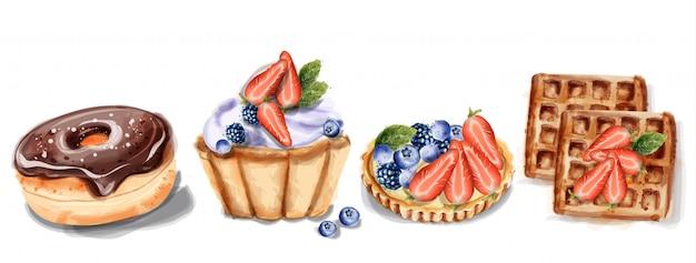 Donuts cupcake en wafels in waterverf