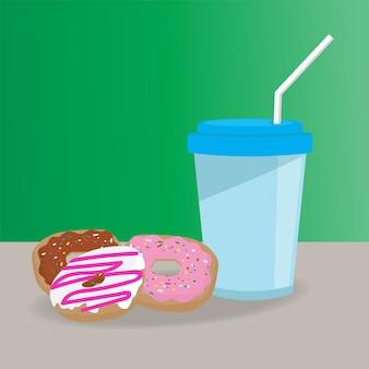 Donuts en kop platte stijl.