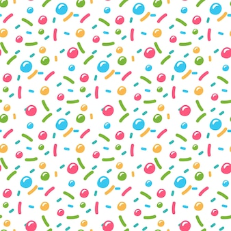 Donuts glazuur en strooi naadloos patroon geïsoleerd op wit