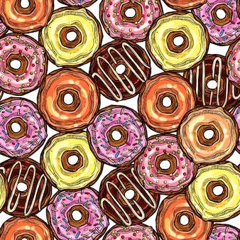 Donuts helder kleurrijk naadloos patroon