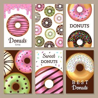 Donuts kaarten ontwerpen. snoepjes gekleurde kaarten met geglazuurde ronde taarten voedsel getextureerde sjablonen.