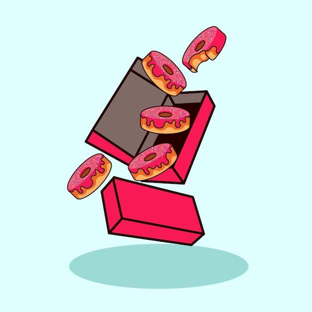 Donuts met doos pictogram illustratie moderne stijl