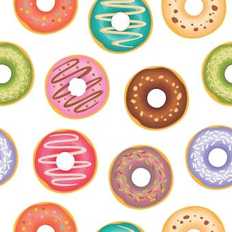 Donuts met verschillende toppings patroon