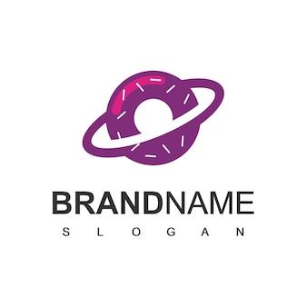 Donuts planet logo ontwerpsjabloon