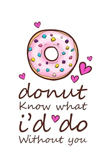 Donuts t-shirt citeert vectorillustratie