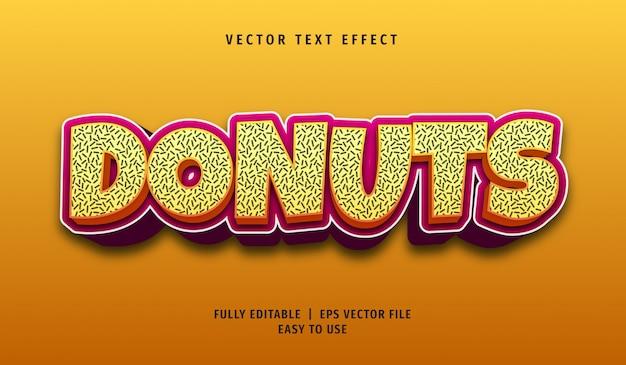 Donuts teksteffect, bewerkbare tekststijl