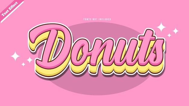 Donuts teksteffect ontwerp vector vector. bewerkbare 3d-tekst