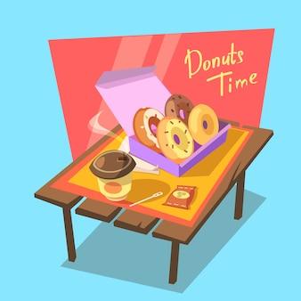 Donuts tijd concept met verse bakkerij in kartonnen doos en drankje beker retro cartoon