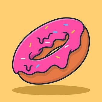 Donutsillustratieontwerp met topping van aardbeienjam en kleurrijke hagelslag