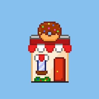 Donutwinkel met pixelkunststijl