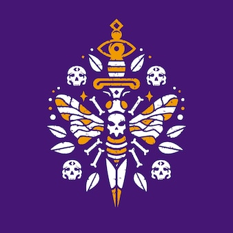 Dood bijen steek tattoo ontwerp