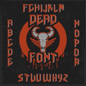 Dood handgemaakt lettertype met een hoofd van een stier