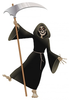 Dood in zwarte mantel met zeis dansfeest halloween