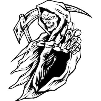 Dood monster mascotte illustratie silhouet