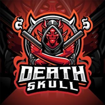 Dood schedel schutter esport mascotte logo ontwerp