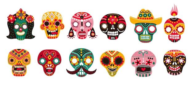 Dood schedels. mexicaanse suiker menselijk hoofd botten halloween tattoo dia de los muertos vector set