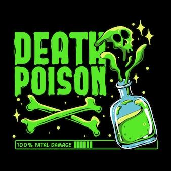 Doodgif ilustration. groen giftig met gekruiste beenderen