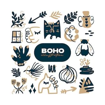 Doodle abstracte boho vector icon