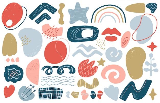 Doodle abstracte vormen. hand getrokken trendy moderne getextureerde vormen, eigentijds kunstwerk stempel, doodle grafische elementen illustratie set. scribble moderne vormcollectie