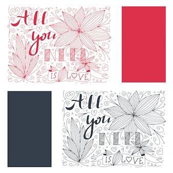 Doodle belettering met alles wat je nodig hebt is liefde citaat en bloem