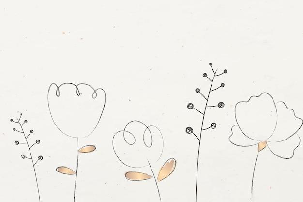 Doodle bloem en plant met beige achtergrond