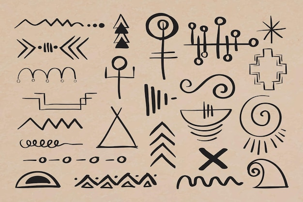Doodle boheemse symbool hand getekende illustratie