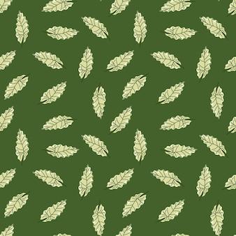 Doodle botanische naadloze patroon met hand getrokken willekeurige blad silhouetten afdrukken