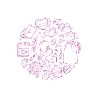 Doodle bruiloft elementen in cirkel vorm illustratie