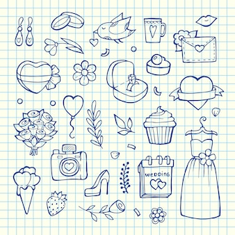 Doodle bruiloft elementen set illustrationon