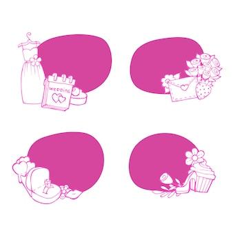 Doodle bruiloft elementen stickers set illustratie