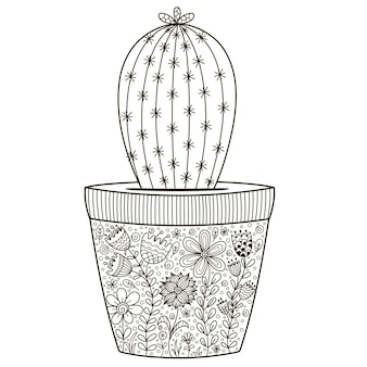 Doodle cactus in de pot met florale sieraad voor kleurboek