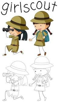 Doodle camping kinderen karakter