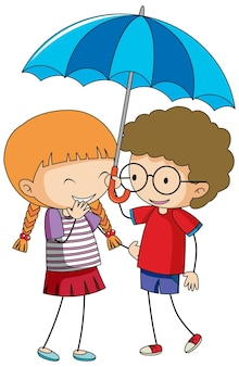Doodle cartoon met kinderen paar