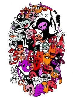 Doodle cartoon set halloween objecten en symbolen