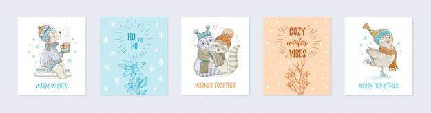Doodle christmas wenskaart set met schattige dieren