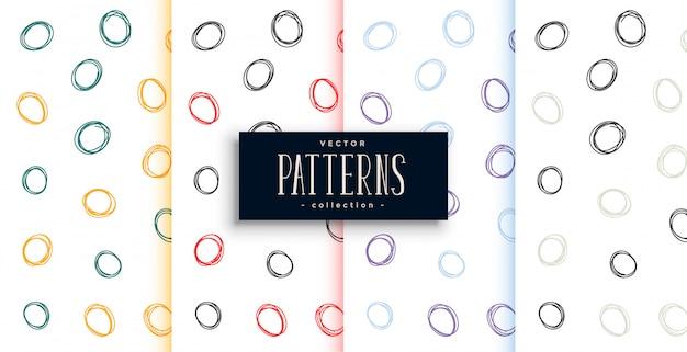 Doodle cirkels abstracte patronen set van vier