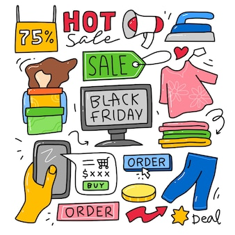 Doodle collectie set black friday-element.