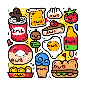 Doodle collectie set van eten en drinken element.