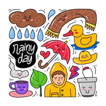 Doodle collectie set van regenachtige dag